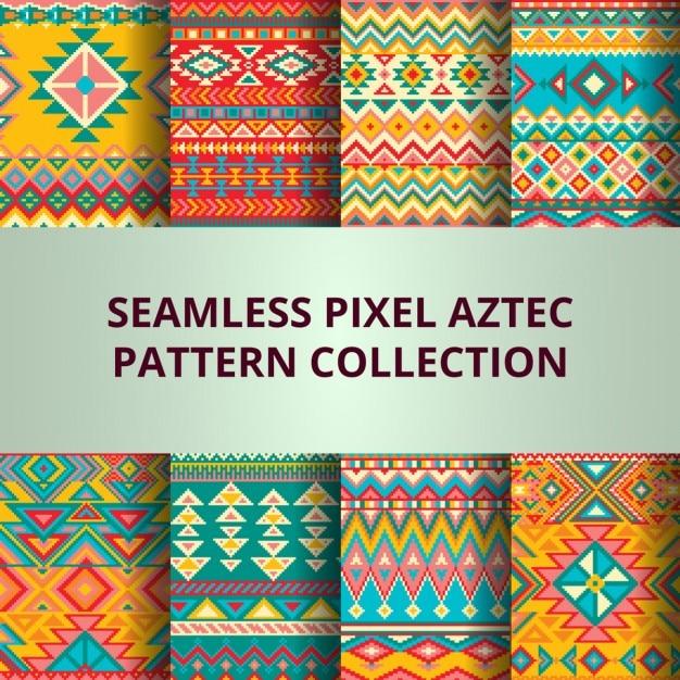 Kolekcja pikseli kolorowych wzorów bez szwu wektora Darmowych Wektorów