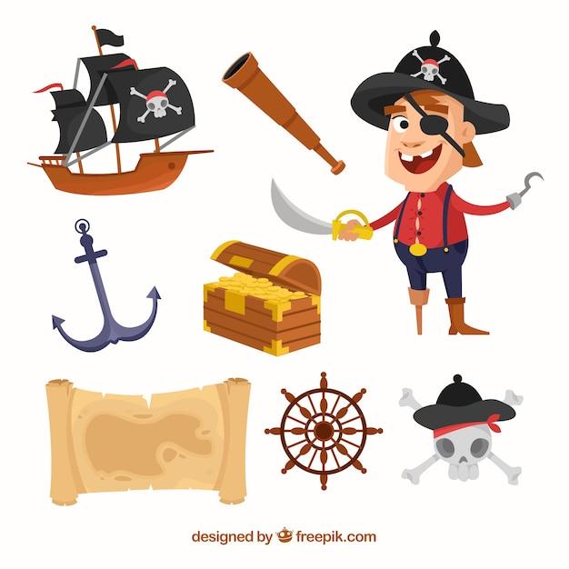 Kolekcja Piratów Z Elementami Darmowych Wektorów