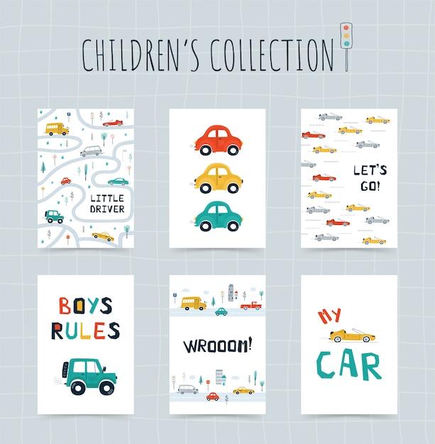 Kolekcja Plakatów Dla Dzieci Z Samochodami, Mapą Drogową I Napisami W Stylu Kreskówki. śliczne Ilustracje Do Projektowania Pokoju Dziecięcego Premium Wektorów