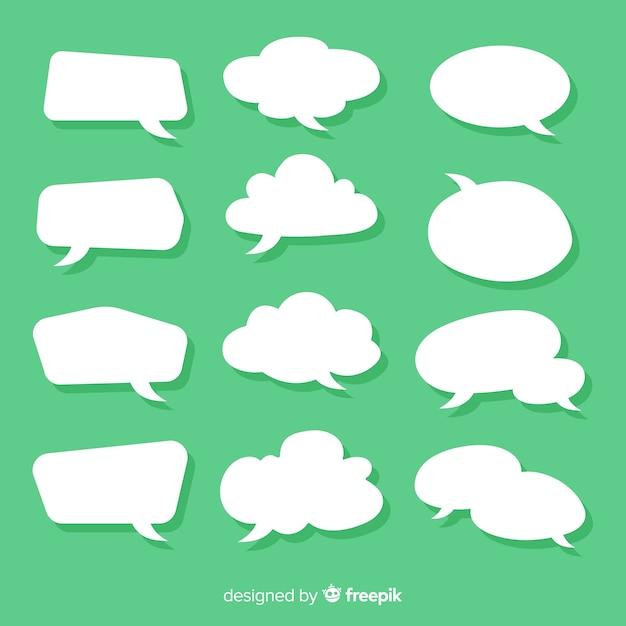Kolekcja płaski dymek w stylu zielonym tle papieru Darmowych Wektorów