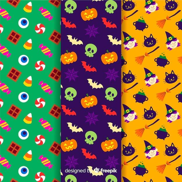 Kolekcja płaski wzór halloween Darmowych Wektorów