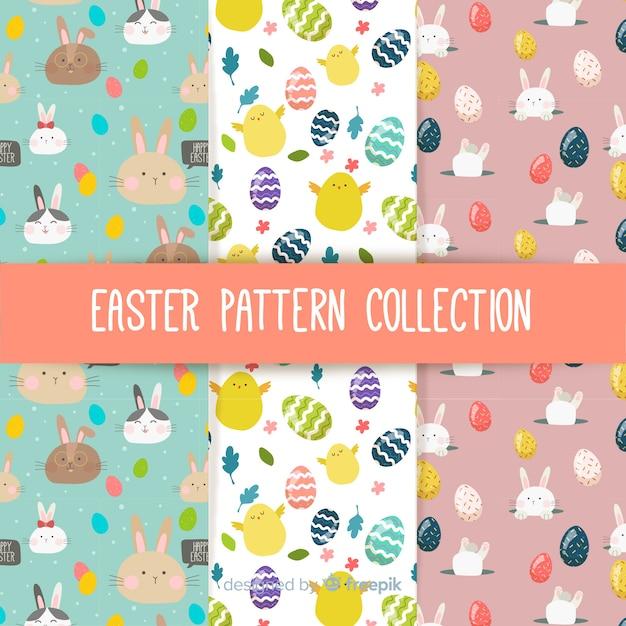 Kolekcja Płaski Wzór Wielkanocny Darmowych Wektorów