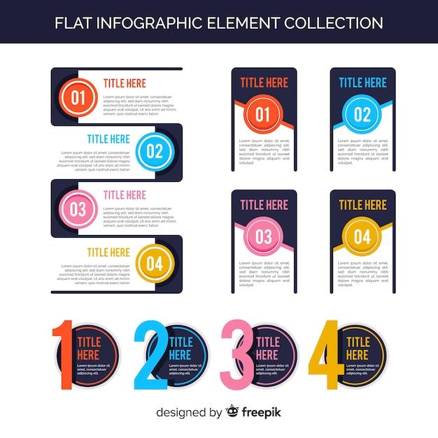 Kolekcja płaskich elementów infographic Darmowych Wektorów