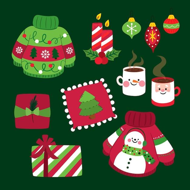 Kolekcja płaskich elementów świątecznych Darmowych Wektorów