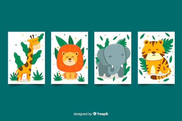 Kolekcja Płaskich Kart Dzikich Zwierząt Premium Wektorów