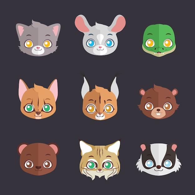 Kolekcja płaskich kolorowych twarzy zwierząt Premium Wektorów