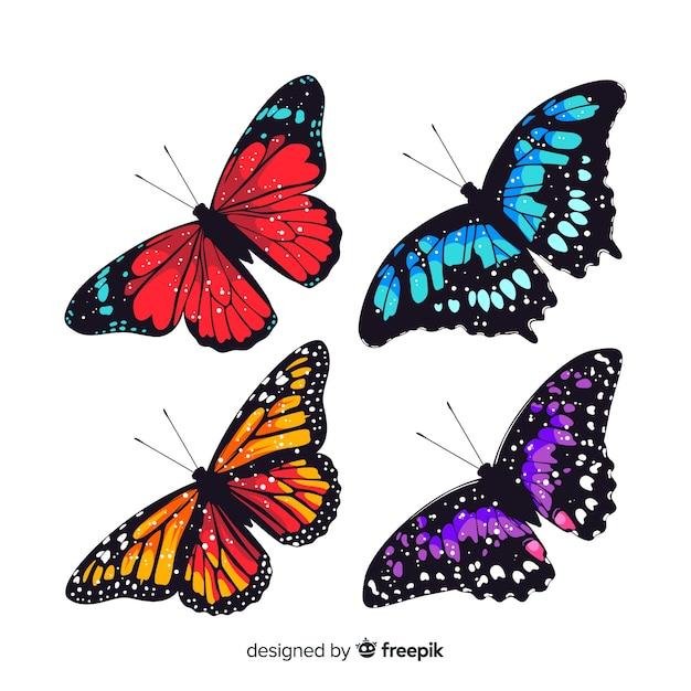 Kolekcja płaskich motyli Darmowych Wektorów