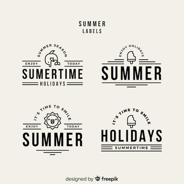 Kolekcja płaskich odznak letnich Darmowych Wektorów