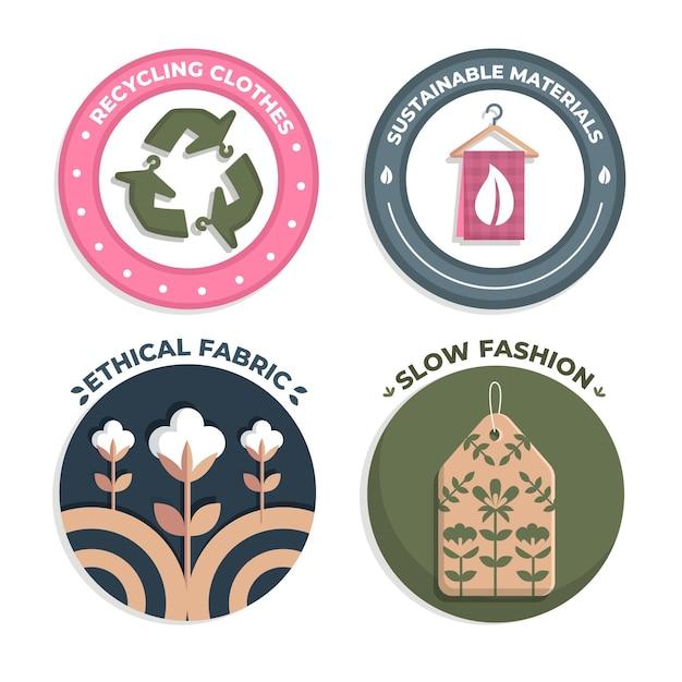 Kolekcja Płaskich Odznak W Stylu Slow Fashion Darmowych Wektorów