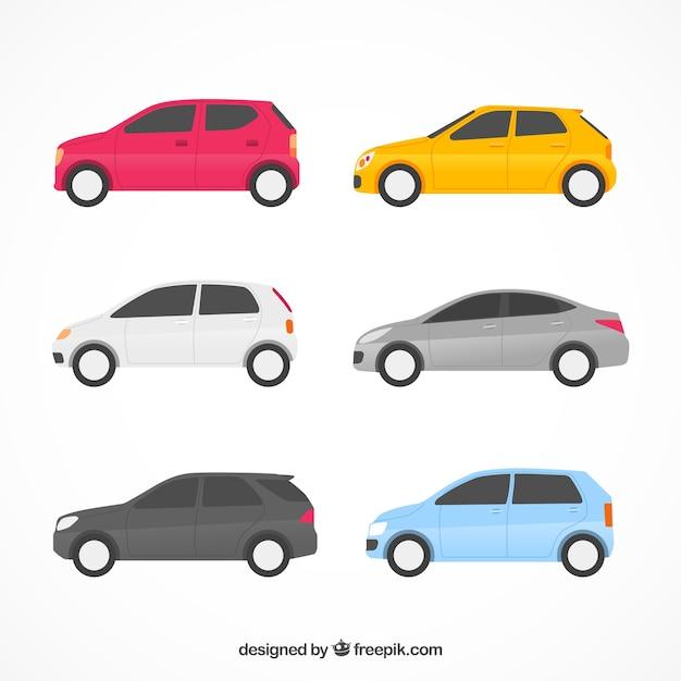 Kolekcja Płaskich Samochodów Z Widokiem Z Boku Darmowych Wektorów