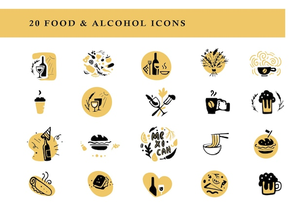 Kolekcja Płaskich Układów żywności I Alkoholu Zestaw Ikon Amp Na Białym Tle Ręcznie Rysowane Elementy Napoju Danie Dobre Dla Restauracji Cafe Catering Bar Amp Fast Food Insygnia Transparent Premium Wektorów