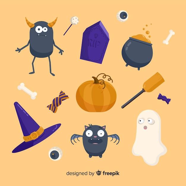 Kolekcja płaskich upiornych elementów halloween Darmowych Wektorów