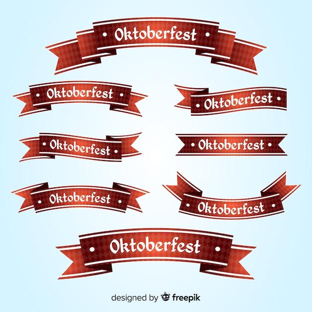 Kolekcja płaskich wstążek oktoberfest Darmowych Wektorów