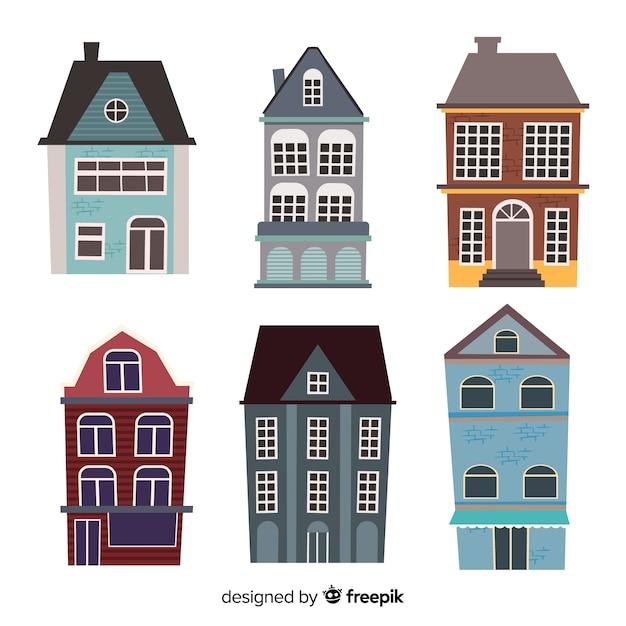 Kolekcja płaskich zabytkowych domów Darmowych Wektorów