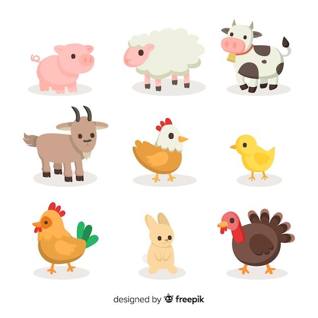 Kolekcja płaskich zwierząt gospodarskich Darmowych Wektorów