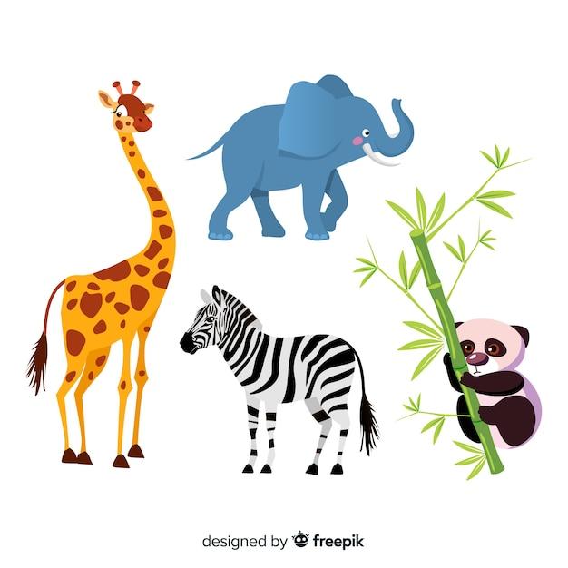 Kolekcja płaskich zwierząt tropikalnych Darmowych Wektorów