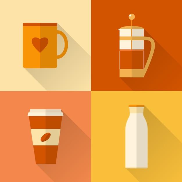 Kolekcja płaskie ikony kawy Premium Wektorów