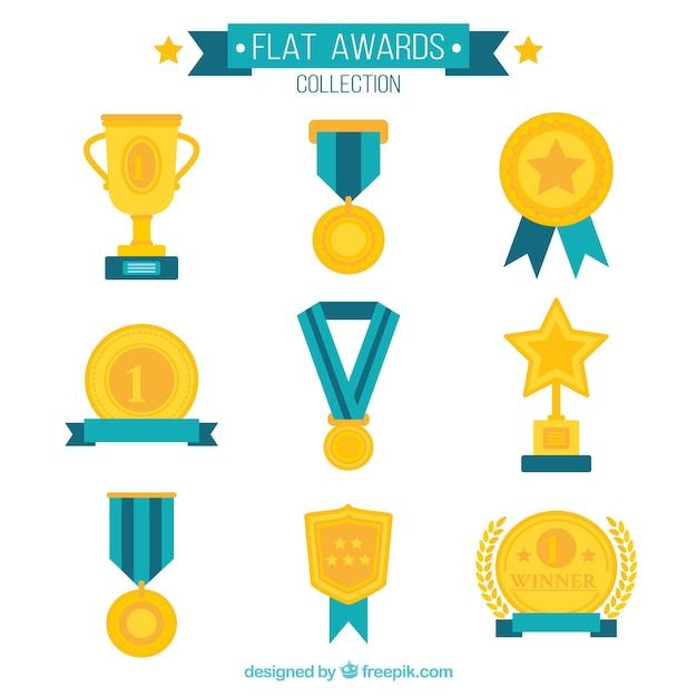 Kolekcja Płaskie Nagrody Premium Wektorów