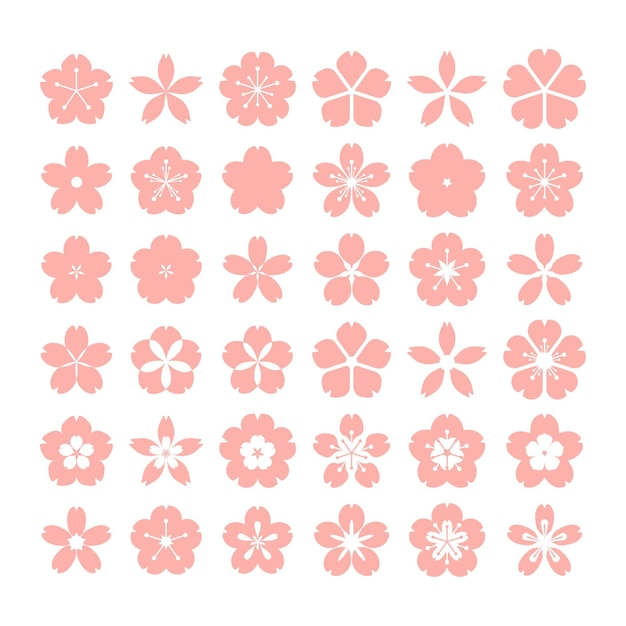 Kolekcja Płaskiej Kolekcji Sakura Premium Wektorów