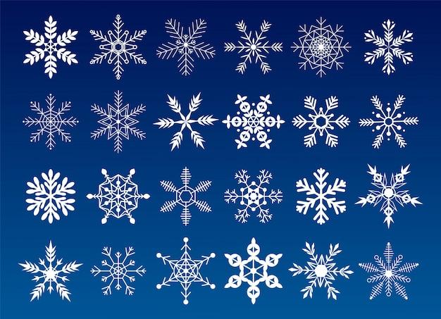 Kolekcja Płatki śniegu. Płaski śnieg Ikony, Sylwetka. Fajny Element Na świąteczny Baner, Kartki. Ozdoba Nowego Roku. Premium Wektorów