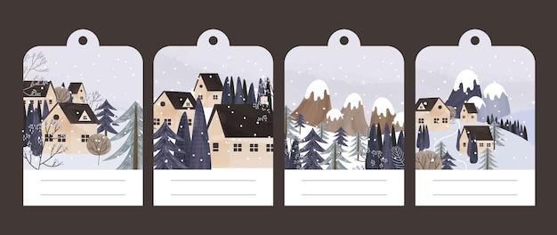 Kolekcja Pocztówek Z Zimowym Krajobrazem I Domami Premium Wektorów