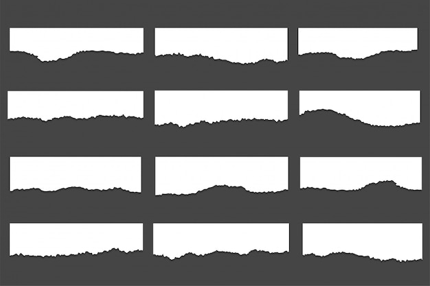 Kolekcja Podartych Zgranych Arkuszy Papieru Darmowych Wektorów