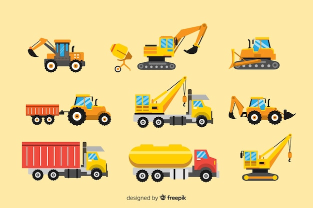Kolekcja pojazdów budowlanych Darmowych Wektorów