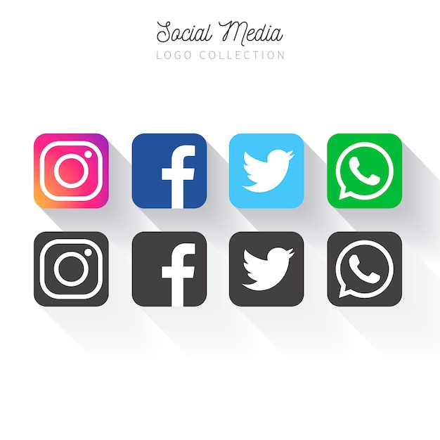 Kolekcja popularnych mediów społecznościowych Darmowych Wektorów