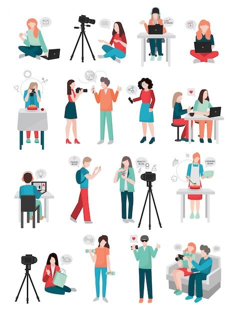 Kolekcja postaci ludzkich blogger Darmowych Wektorów