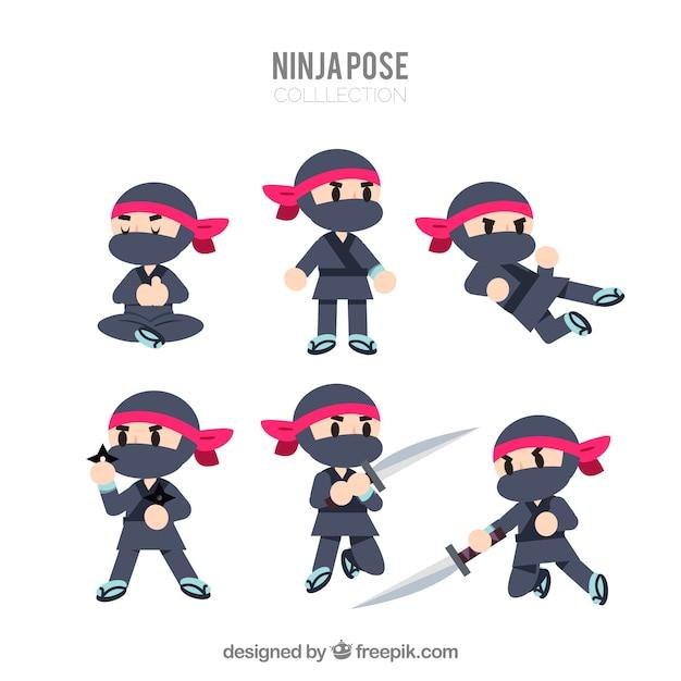 Kolekcja postaci ninja Darmowych Wektorów