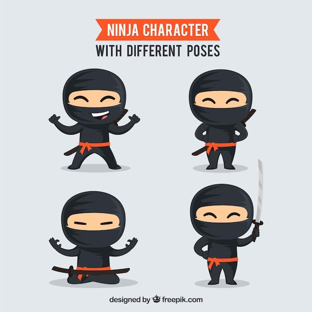 Kolekcja postaci wojownika ninja Darmowych Wektorów
