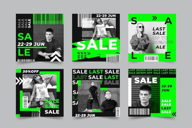 Kolekcja Postów Acid Instagram Sale Premium Wektorów