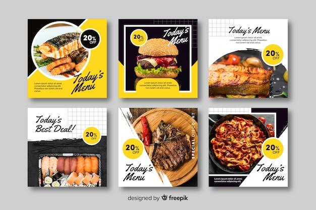 Kolekcja postów kulinarnych na instagramie ze zdjęciem Darmowych Wektorów