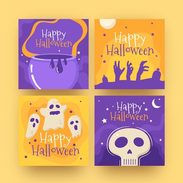 Kolekcja Postów Na Halloween Na Instagramie Darmowych Wektorów
