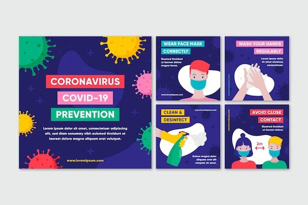 Kolekcja Postów Na Instagramie Koronawirusa Premium Wektorów
