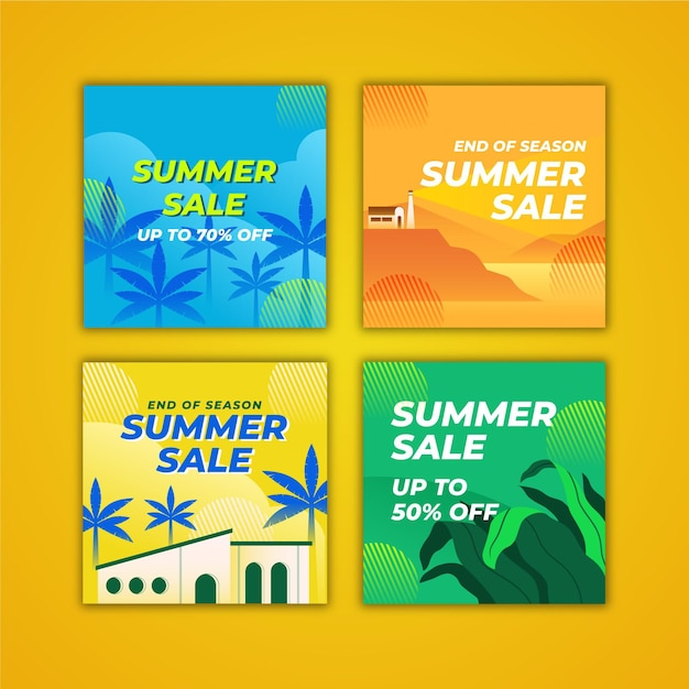 Kolekcja Postów Na Instagramie Na Koniec Sezonu Letniej Sprzedaży Darmowych Wektorów