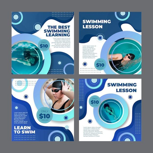 Kolekcja Postów Na Instagramie Na Lekcje Pływania Darmowych Wektorów