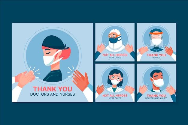 Kolekcja Postów Na Instagramie Opieki Zdrowotnej Darmowych Wektorów
