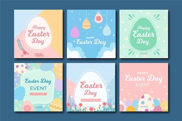 Kolekcja Postów Na Instagramie W Dzień Wielkanocny Darmowych Wektorów