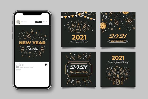Kolekcja Postów Na Instagramie Z Okazji Nowego Roku 2021 Darmowych Wektorów