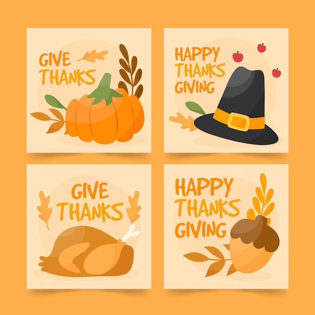 Kolekcja Postów Na Instagramie Z Okazji święta Dziękczynienia Darmowych Wektorów