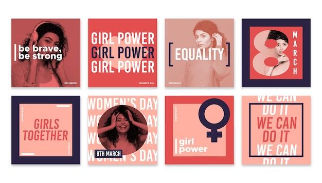 Kolekcja Postów Na Instagramie Z Płaskim Międzynarodowym Dniem Kobiet Darmowych Wektorów