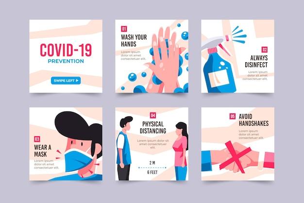 Kolekcja Postów Na Instagramie Zapobiegania Koronawirusom Premium Wektorów