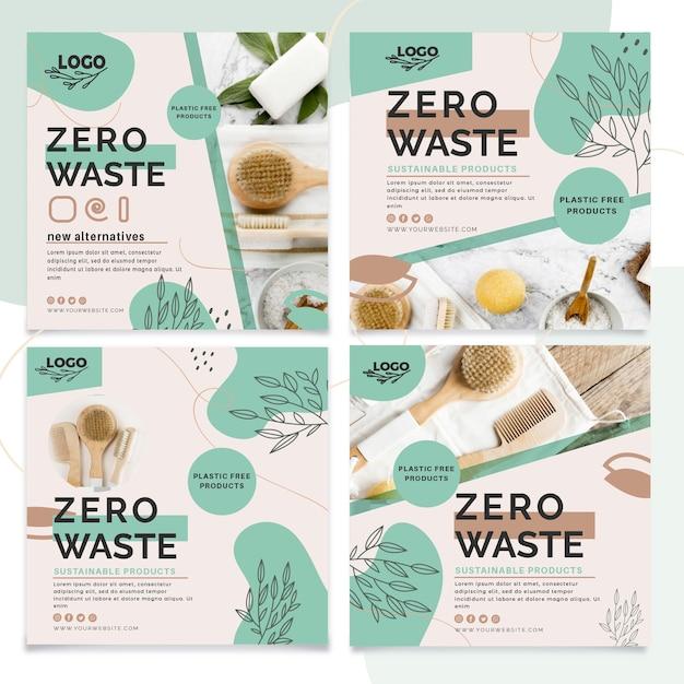 Kolekcja Postów Na Instagramie Zero Waste Darmowych Wektorów
