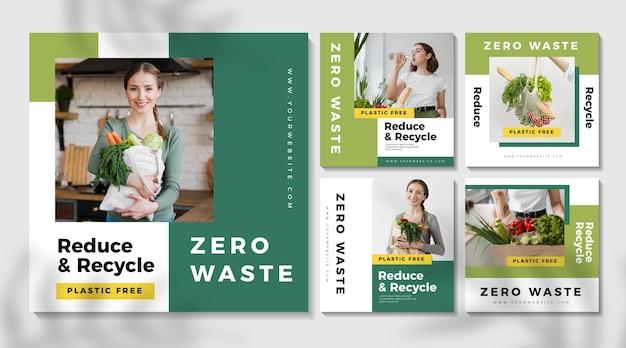 Kolekcja Postów Na Instagramie Zero Waste Premium Wektorów