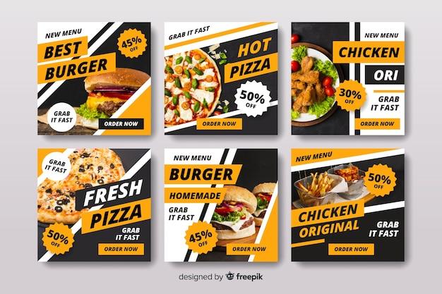 Kolekcja postów na pizzę i burgera na instagramie ze zdjęciem Darmowych Wektorów