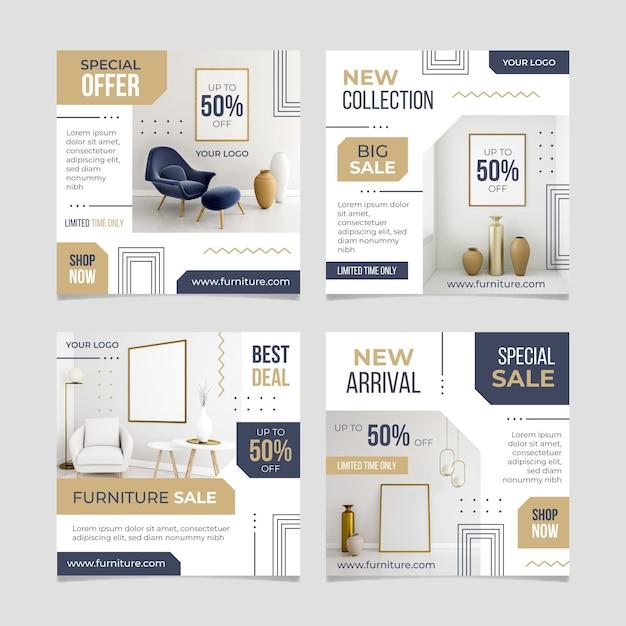 Kolekcja Postów Na Sprzedaż Mebli Na Instagramie Premium Wektorów