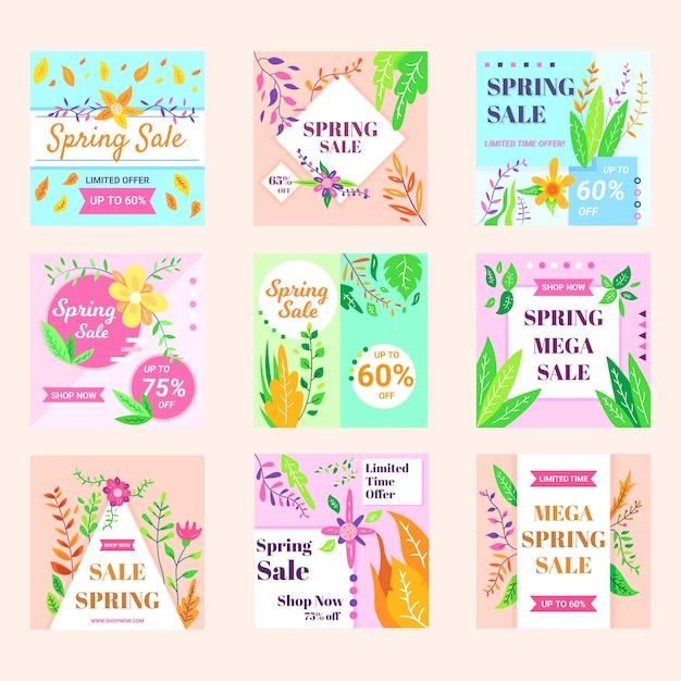 Kolekcja Postów Na Wiosenną Wyprzedaż Na Instagramie Darmowych Wektorów
