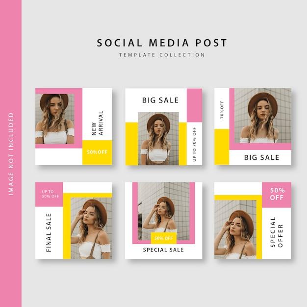 Kolekcja Postów W Mediach Społecznościowych Premium Wektorów