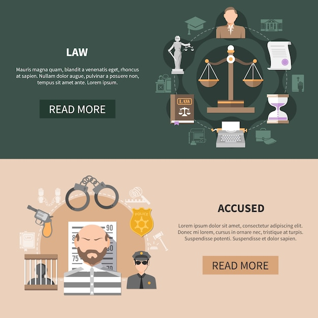Kolekcja poziome transparenty sądownictwa Darmowych Wektorów